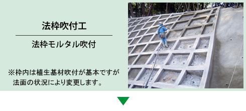 法枠吹付工 | 法枠モルタル吹付 ※枠内は植生基材吹付が基本ですが法面の状況により変更します。